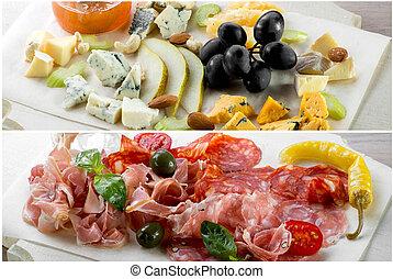 formaggio, carne, assortito
