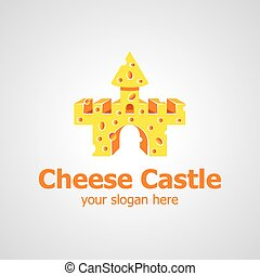 formaggio, castello, vettore, disegno, logotipo