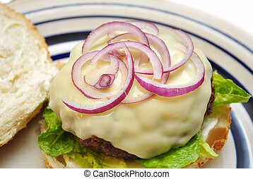 formaggio, cipolla, hamburger