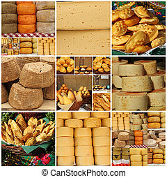 formaggio, collage, italia, polonia, regionale, italiano,...