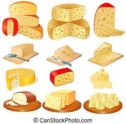 formaggio, differente, set, tipi