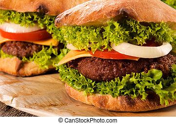 formaggio, e, hamburger
