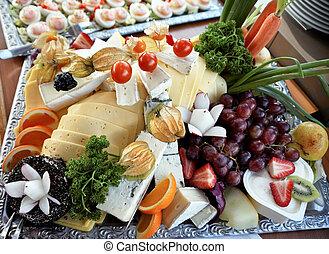 formaggio, freddo, buffet, piastra