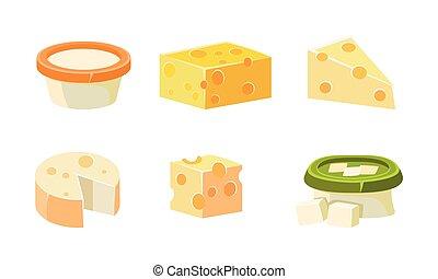 formaggio, fresco, illustrazione, vettore, prodotti, collezione, assortimento, vario, formaggio, tipi