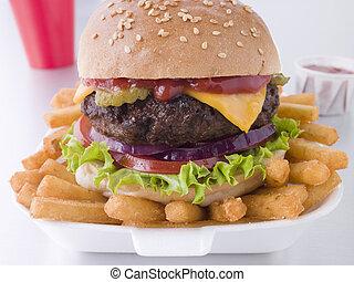 formaggio, frigge, sesamo, hamburger, seme, azotemia