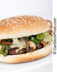 formaggio, fungo, hamburger