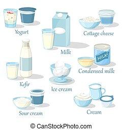 formaggio, ghiaccio, kefir, yogurt, cottage, crema