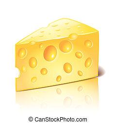 formaggio, isolato, bianco, vettore