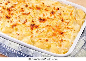 formaggio, maccheroni, casalingo, casseruola