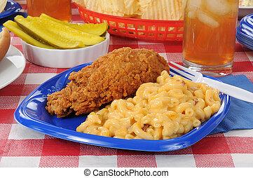 formaggio, pollo, maccheroni, friec