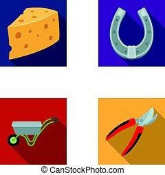 formaggio, set, giardinaggio, albero, agricolo, carrello, stile, lavoro, icone, casato, appartamento, fattoria, simbolo, web., collezione, shrubs., metallo, taglio, pruner, illustrazione, fatto, fori, ferro cavallo, vettore