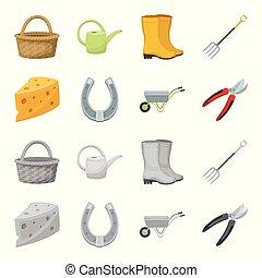 formaggio, set, giardinaggio, albero, agricolo, carrello, stile, lavoro, icone, casato, fattoria, simbolo, web., collezione, shrubs., metallo, taglio, pruner, illustrazione, fatto, fori, cartone animato, ferro cavallo, vettore