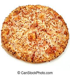 formaggio, sfondo bianco, pizza