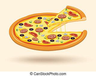formaggio, simbolo, pizza carne