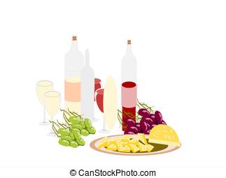 formaggio, uve vino, bibite