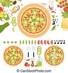 formaggio, vegetariano, verdura, pizza