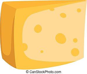 formaggio, vettore, isolato, fette