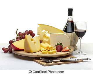 formaggio, vita, legno, ancora, vassoio, rotondo