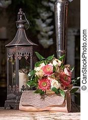 formal, acontecimiento, prom, accessories., ramode flores, y, clutch.