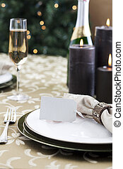 formal christmas dinner - Formal Christmas dinner with light...