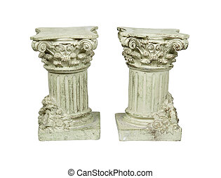 White stone formal columns for supporting the roof - path included