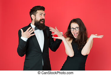 formal couple. ring in box. love date. valentines day couple. formal couple in love. tuxedo man and formal lady at engagement party. happy woman make bearded man marriage proposal. oh my god