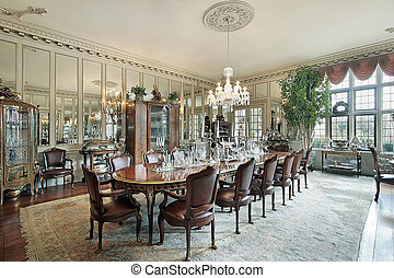 Formal dining room with wall mirrors - Formal dining room in...