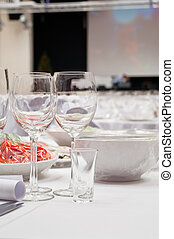 Formal dinner service as at a wedding, banquet
