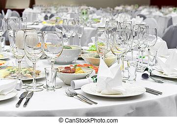 Formal dinner service as at a wedding, banquet