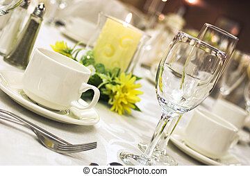 Formal dinner setting - A table laid out for fine dining