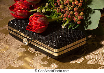 Formal Event Prom Accessories. Bouquet of Flowers and Clutch.