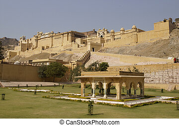 Formal Garden at Amber Fort - Formal garden at the base of...