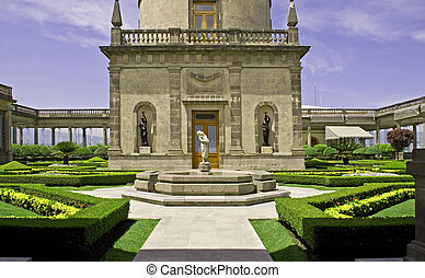 Formal garden on a castle terrace - Formal garden on the...