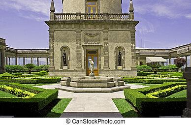 Formal garden on a castle terrace - Formal garden on the...