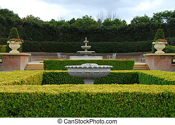 Formal Garden - A formal garden, complete with Buxus hedge...
