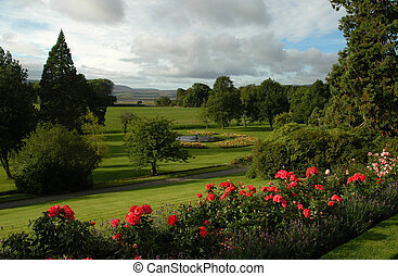 Formal garden in Scottish estate