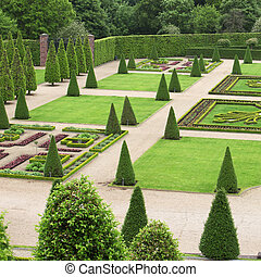 Formal garden - Formal ornamental garden with grren plants...