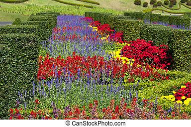 Formal Garden - Flowerbeds, Grass Pathway and Ornamental...