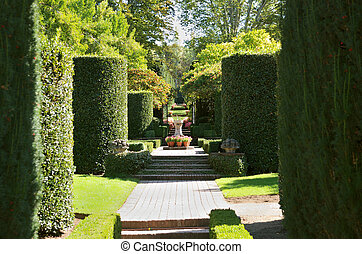 Formal Garden - a view on a formal garden on a sunny day