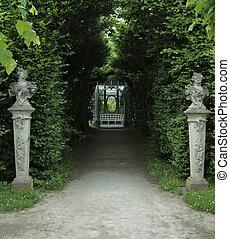 formal garden - idyllic scenery of a formal garden in...
