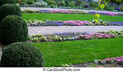 Formal Garden with Flower beds and Bushes