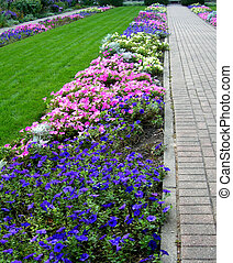 Formal Garden with Flower beds in blue and pink