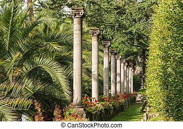 Ionic columns colonnade in Lugano, Switzerland