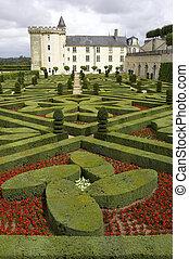 Formal gardens at chateau, de, villandry, loire, valley, ...