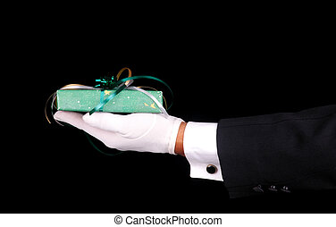 Formal Gloved Hand and Present