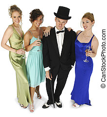 Formal Group - Attractive young man in tux, three beautiful ...