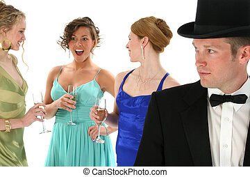 Formal Group - Focus on man. Man in tux with three beautiful...