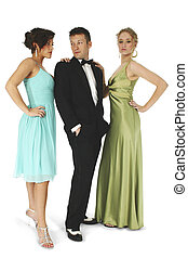 Group of friends in formal wear. Clipping path.