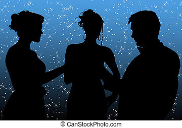 Formal group of three over twinkling star background.
