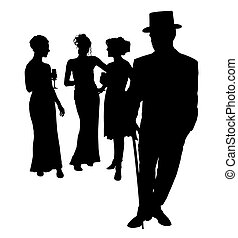 Formal Group - Silhouette over white with clipping path.